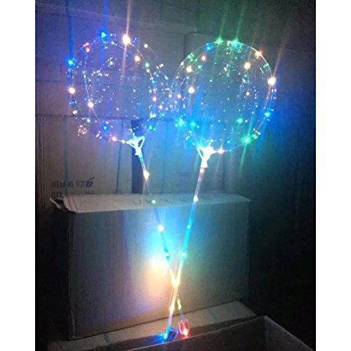 LEDMOMO Globos de fiesta 18 pulgadas globo transparente intermitente luz de color mezclado con alambre de cobre de 3m para la boda de Navidad de cumpleaños Decoración de fiesta de Halloween (verde)