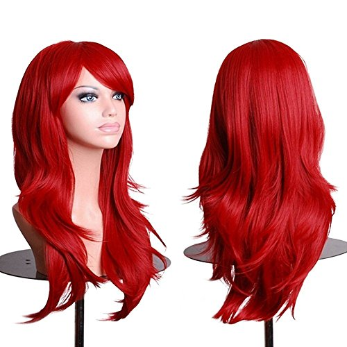 Anime Cosplay Perücke Kostüm Party Synthetisches Haar Voll Perücke Curly Wellig In Silber Grau Rosa Blond Lila Rot (70cm, Rot)