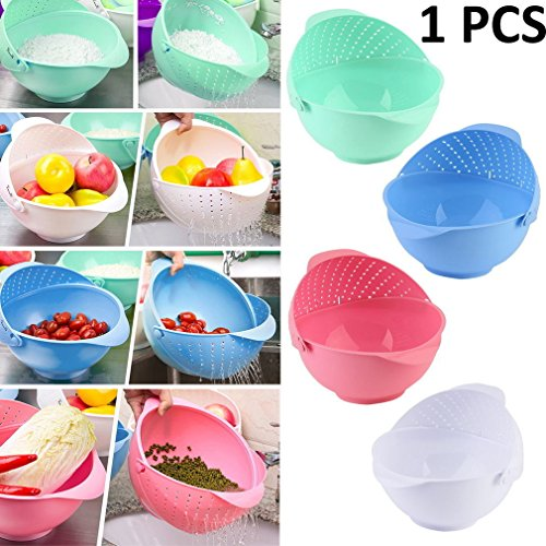 Kitchen Drain Basket Colander Strainer for Fruit,Vegetable, Rice, Cereal Strainer Rinse Bowl and Strainer in One (Color May Vary) (29cm X 25cm X12cm) (1-Pcs) by Kurtzy