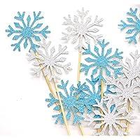 PuTwo pastel hecho a mano Decoración 20 cuentas Suministros de Frozen partido Cupcake Toppers Palillos de dientes Decoraciones de boda-Sliver + Blue