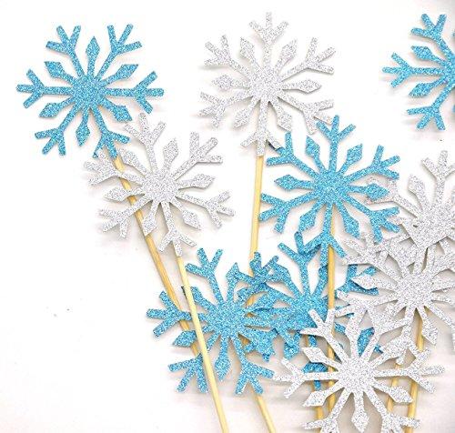 PuTwo 20Cuenta Boda decoración de Pasteles Frozen Cupcake Toppers Palillos, Color Plateado/Azul/Nieve