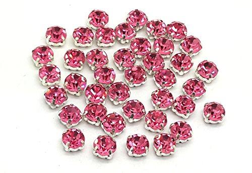EIMASS® Strasssteine, wunderschöne Qualität, klebende, flache Rückseite, Glas-Strasssteine in Silber- & Goldfassung, 100Stück, - Hot Pink in Silver Casing - Größe: ss38 (8 mm)