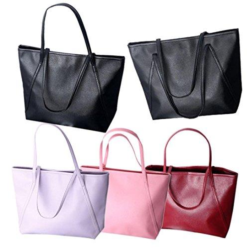 DDLBiz® Einfache Winter große Leder Frauen Messenger Bag Pink