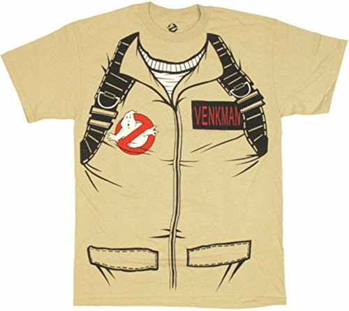 Kostüm Bill Murray - Ghostbusters Full Venkman's Kostüm with Backpack Print Sand Erwachsene T-Shirt (Medium)