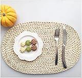 yookoon 1natur oval Tisch-Sets natur Mais Kleie geflochtenen Rattan Untersetzer (30x 45cm)