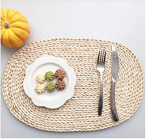 yookoon 1natur oval Tisch-Sets natur Mais Kleie geflochtenen Rattan Untersetzer (30x 45cm) (Counter-tisch-set)