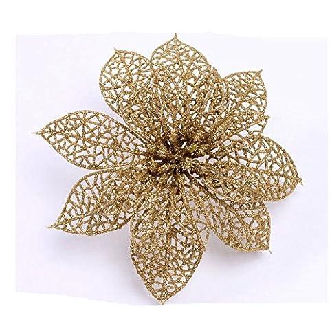 Lanlan Künstliche Glitter Hohl Blumen Hochzeit Party Xmas Tree Weihnachtsdekoration 15cm, Golden