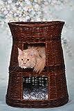 Runde Katzenhütte in Wengegrau, Katzenkorb aus Weide, Korb für die Katze mit drei Etagen, Katzenlager mit Kissen, Katzenturm