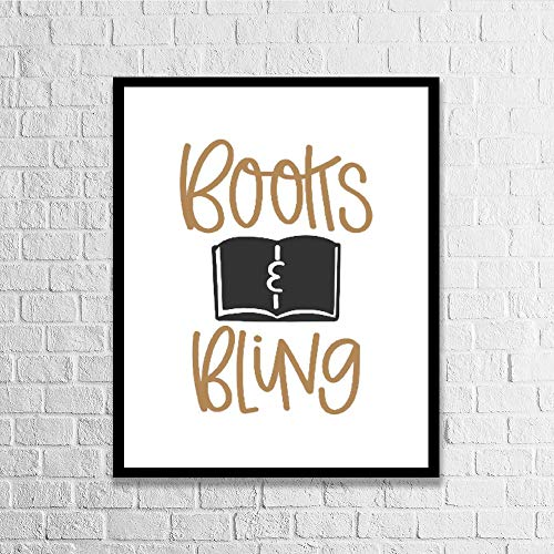 Promini Books and Bling Calligraphy Print Wood Framed Sign Quote Wall Art Sign Plaque for Wall Decor 11.8
