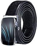 DiBanGu - Cintura a cricchetto da uomo, in vera pelle, con fibbia automatica, colore nero Nero Dk-2048. Medium