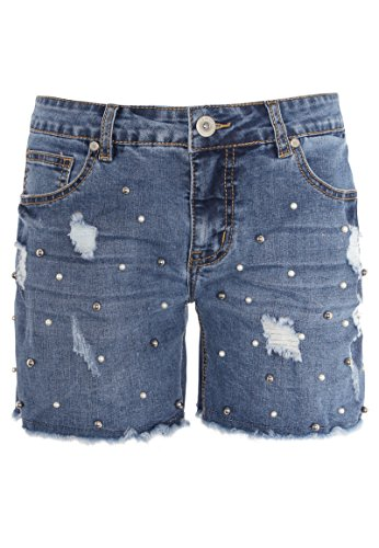 Sublevel Damen Jeans-Shorts mit Perlen | Kurze Hose mit Destroyed Parts aus hochwertigem Denim blue M