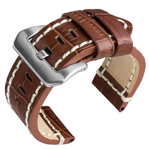 cinturino-di-orologio-di-sostituzione-cuoio-alligatore-bianco-marrone-24mm