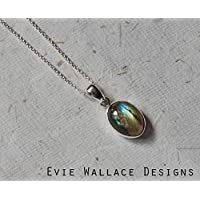 Handmade Oval Labradorite Pendant, Spectrolite Oval Necklace, Sterling Silver