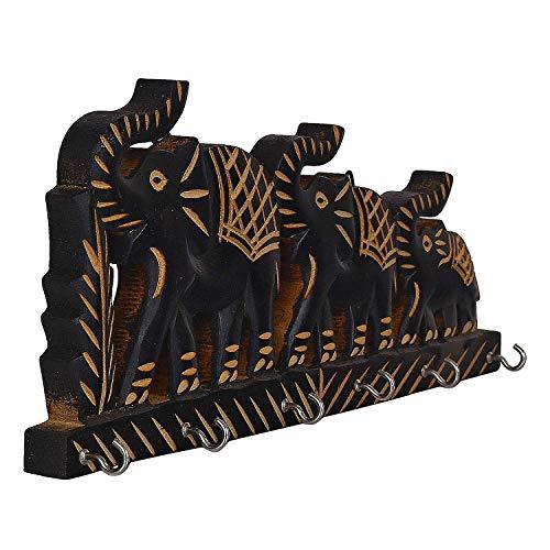 G&D Llavero de Madera con diseño de Elefante Triple, decoración de Pared, colgadores para Llaves de Color Negro