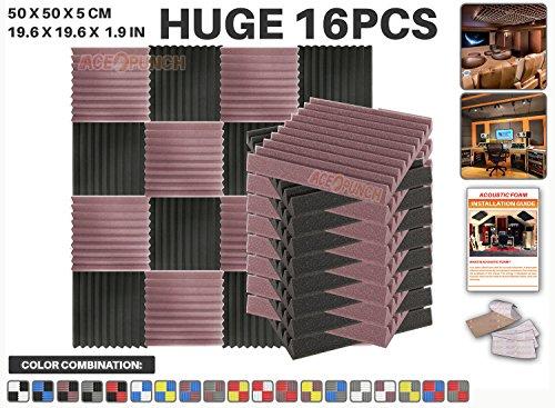 ace-punch-16-pieces-bourgogne-et-noir-wedge-studio-foam-panel-isolation-sonore-traitement-acoustique