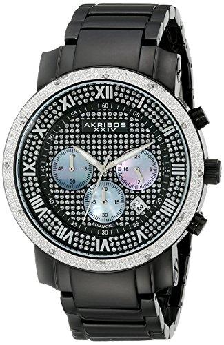 Akribos XXIV Men's AKR439BK Grandiose Dazzling Diamond Black Chronograph Watch