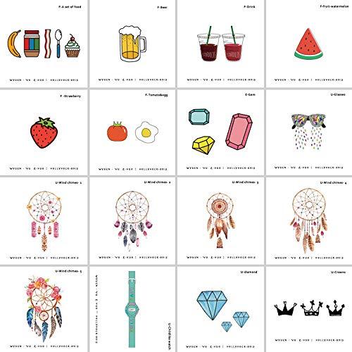 fkleber 16 Teile / Los Schmuck Gefälschte Tattoo Lebensmittel Edelstein Temporäre Arm Tattoo Aufkleber Für Frau Kunst Kinder Tattoos ()