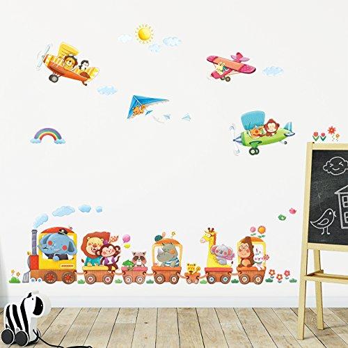 $ Decowall DAT-1406A1506B Treno con Animali e Biplani Adesivi da Parete Decorazioni Parete Stickers Murali Soggiorno Asilo Nido Camera da Letto per Bambini prezzo