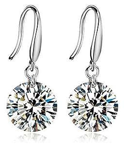 Karatcart Silver Crystal Dangle Earrings For Women (2.00 Cm)