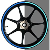 Reflective Blue 16 to 19 inch Reflective Motorcycle, Scooter, Car & Truck Wheel Rim Stripes 3/8 inch or 9.5mm wide