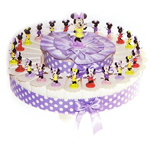 Torta bomboniere 24 fette di torta con minnie in resina completo di confetti bianchi crispo al cioccolato