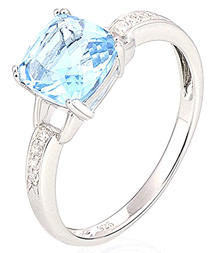 SaySure - Silver Rings Wedding Ring Sky Blue White (SIZE : 6)