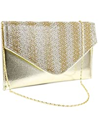 Anladia Sac a Main Chaine Pochette Soiree Enveloppe Zigzag vertical Diamant Brillant