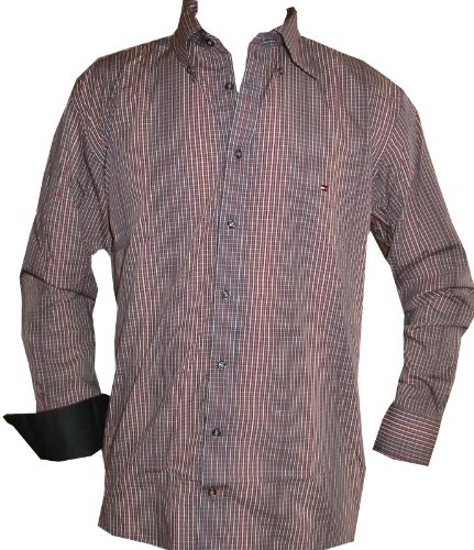 Tommy hilfiger -  camicia casual  - uomo rosso, bianco, nero large