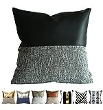 Kdays Diseño moderno almohada cubierta almohada cubierta decorativa imitación cuero almohada cojín hecho a mano cubierta 22 x 22 pulgadas mitad-negro