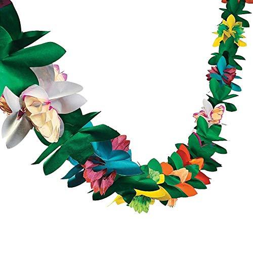 3M lange Hawaii Garland Flower verlässt tropischen bunten Papier Banner für Partydekorationen, Geburtstage, Event Supplies, Festivals, Kinder & Erwachsene