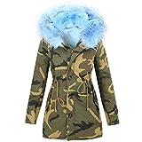 Freshlions Parka Camouflage en Fourrure pour Femme – Manteau Chaud pour l'Hiver avec Doublure et Grosse Capuche bordé de Fausse fourrure luxe - Bleu ciel