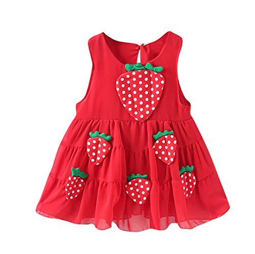 JUTOO Neugeborene Kleinkind Baby Mädchen Sling Erdbeerapplikationen beiläufige Prinzessin Dress Clothes (rot,100)