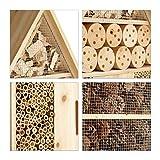 Relaxdays Insektenhotel XL stehend, Nisthilfe für Bienen, Florfliegen, Marienkäfer, Holz HxBxT: 79 x 39 x 13 cm, natur - 5