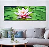 LB HD Blumen Landschaft Wand Gemälde Rosa Seerosen Grün Blätter Bild Druck auf Leinwand wandkunst für Wohnzimmer Schlafzimmer Dekoration 3 stück 40x40 mit Rahmen