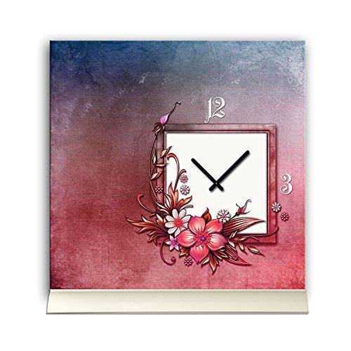 Tischuhr 30cmx30cm inkl. Alu-Ständer -Art déco Design Jugendstil lila rot geräuschloses...
