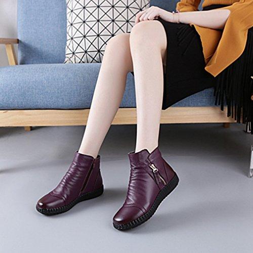 Otoño E Invierno Zapatos De Mujer Europeos Y Americanos Con Botas Cortas Botas Impermeables De Color Púrpura