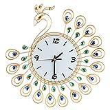 Bomcomi Reloj Grande de la Pared del Pavo Real cristalino del Rhinestone del Metal de la Aguja Digital Reloj Colgante de la Sala de Estar Decoración