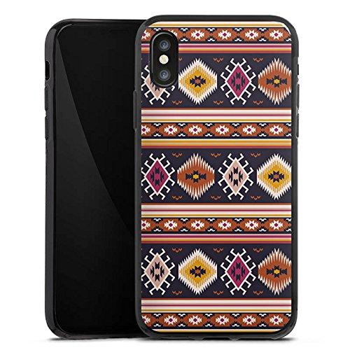 Apple iPhone X Silikon Hülle Case Schutzhülle Muster Ethno Bunt Silikon Case schwarz