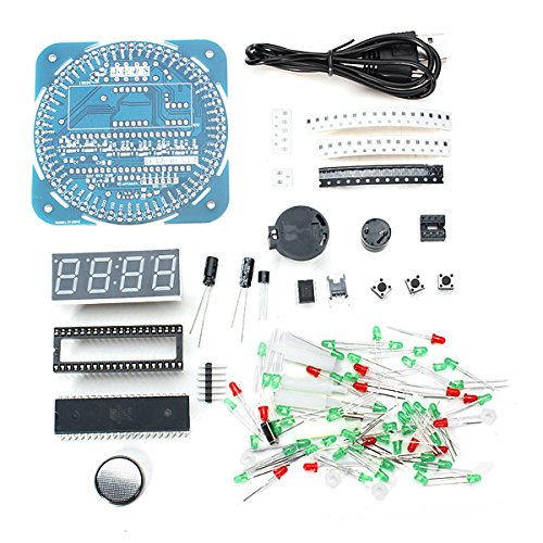 Bluelover Diy Ds1302 Rotation Led Elektronische Uhr Kit 51 Scm Learning Board