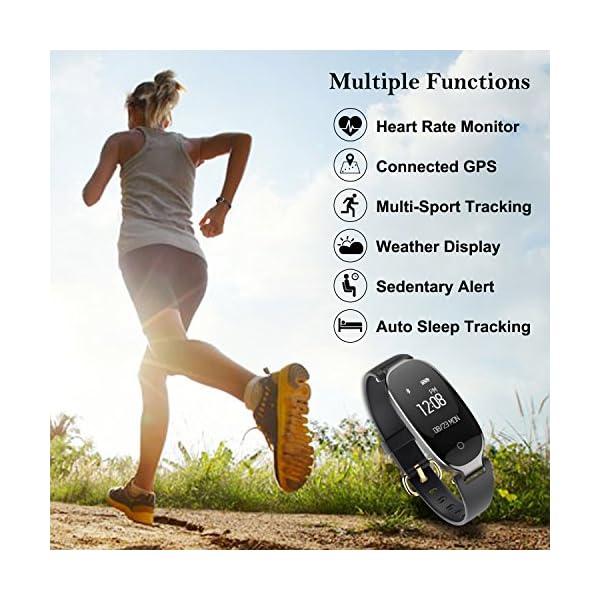 Pulsera Monitor de Actividad Pulsómetro y Podómetro para Mujeres Impermeable IP67, con Bluetooth Contador de Pasos y Monitor de Sueño para Smartphones con Android e iOS: iPhone, Samsung de WOWGO 2