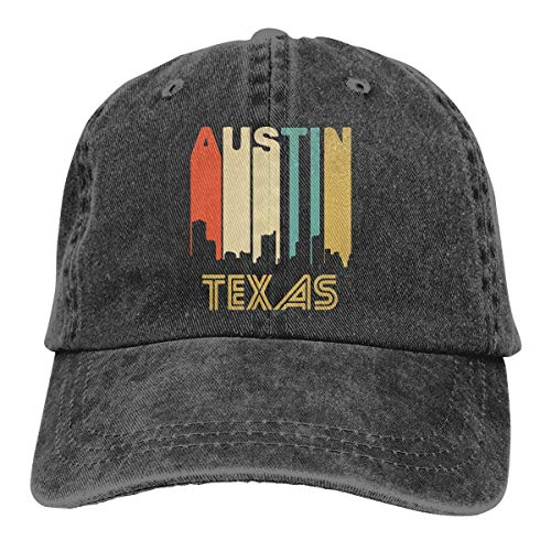 Unisex Adjustable Vintage Jeans Baseball Cap Retro 1970's Style Austin Texas Skyline Plain Cap (1970 Mens Hair)