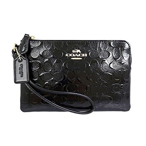 coach-women-corner-zip-wristlet-black-coin-pouch-wallet-patent-leather-f55206