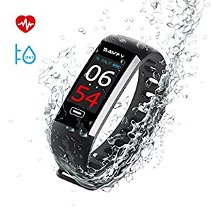 SAVFY Fitness Tracker IP67 Waterproof Activity Tracker Smart Watch Color Screen Wristband With Heart Rate Monitor, Pedometer, Sports Modes for iOS and Android (Black)