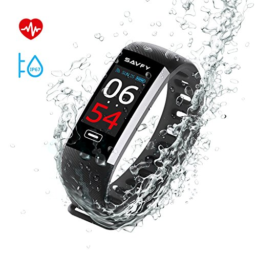 Pulsera Inteligente, SAVFY IP67 Nivel de Resistente al Agua Pulsera Actividad, Ritmo Cardíaco Presión Arterial y Oxímetro Fitness Tracker, Pantalla a Color Táctil OLED Bluetooth 4.0 Relojes Inteligentes Negro