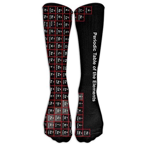 CAP PILLOW HOME Periodensystem der Elemente Schwarz Unisex Neuheit Lange Socken Athletic Tube Stockings Size -