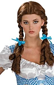 Ladies Brunette Brown Plaited Braided Bunches School Girl Dorothy Wizard of Oz Fancy Dress Wig