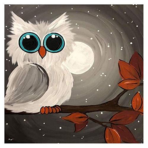 Avton DIY 5D Diamant Gemälde Set Malen mit Diamanten, niedliche Eule Strass Kreuzstich Kit Kunst Handwerk Leinwand Wand Dekoration (40 x 30 cm) Cartoon owl -
