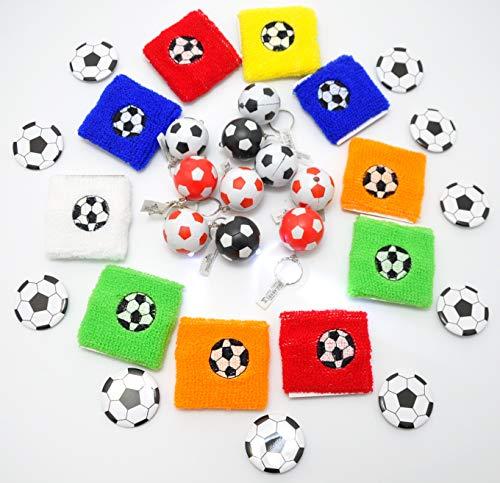 jameitop®⚽ MEGA Set 10x Fußball Schlüsselanhänger mit LED-Lampe + 10x Fußball Schweißband + 10 Fußball Button ☛30 Teile ⚽ (Fußball-buttons)