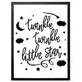 """Booga Baby Kinderzimmer Kunstdruck, Kinderzimmer Poster mit Spruch """"Twinkle Twinkle Little Star"""", Deko Bild Print Plakat DINA4, Ideal Auch als Geschenk"""