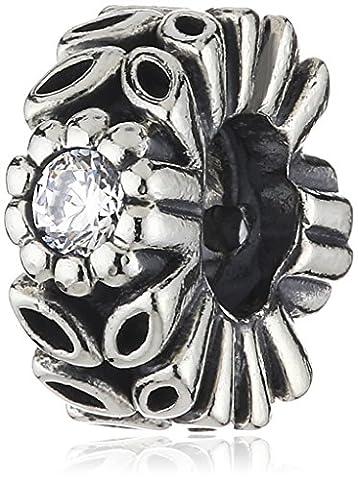 Pandora Damen-Charm 925 Sterling Silber Zirkonia Moments weiß 791224CZ - Pandora Fiore Charm